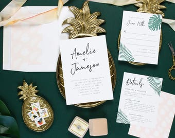 Tropical Wedding Invitation Beach, Palm Leaf Invitation Set, Destination Wedding Invites, SOUFRIERE SUITE