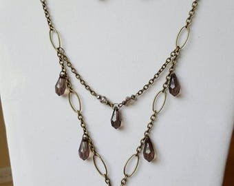 Marcasite and antique gold colored chain jewelry set
