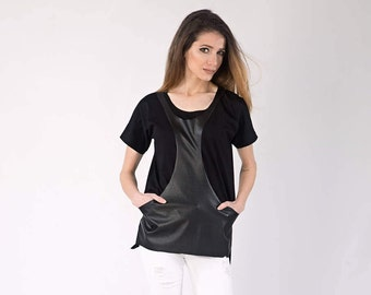 Leather blouse, Leather tunic, Black leather shirt, Leather tank top, High low blouse, Markiiza, Cotton Tank Top, Festival Tank Top