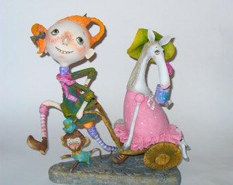 Peppy.OOAK Handmade Art Doll, sculpture of Papier Mache, a unique original 3D-work.