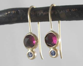 14k Gold Petite Double Drop Dangle Earrings * Rose Cut Rhodolite Garnet & Blue Sapphire * First Date Earrings