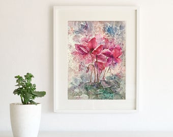 Original Watercolor Painting Cyclamenes. Flowers. Floral wall art. Home Decor.