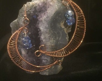Large wire wrapped crescent moon earrings