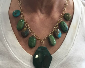 Blue and green turquoise cascade necklace with green-blue agate centerpiece