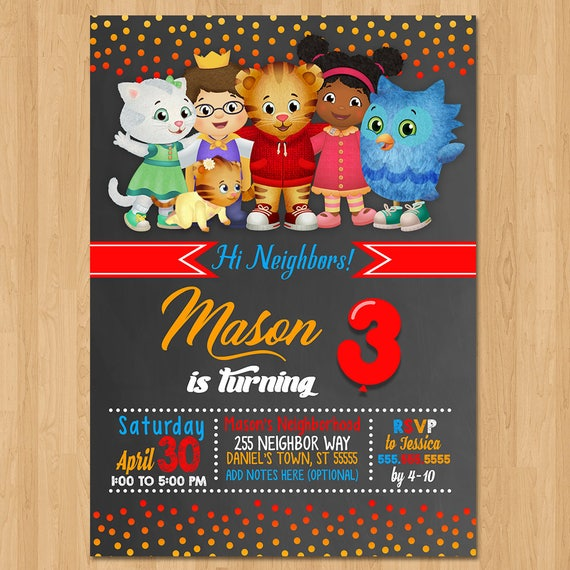 Daniel Tiger Invite - Chalkboard Red Orange Blue - Daniel Tiger Birthday Party Invite - Daniel Tiger Party Favors - Chalk Invite - Printable