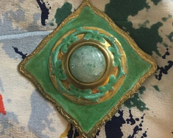 Vintage Robin's Egg Blue and Green Enamel Brooch