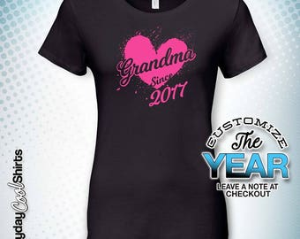 Grandma Since (Any Year), Grandma Gift, Grandma Birthday, Grandma tshirt, Grandma Gift Idea, Baby Shower, Pregnancy