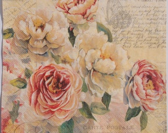 Decoupage Paper Napkin x4 Roses Retro Vintage for Decoupage Craft Scrapbooking 012