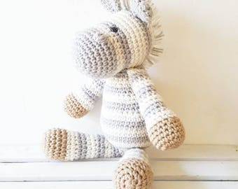 Crochet Zebra Stuffed Animal Toy Newborn Baby Infant Toddler Nursery Decor Handmade Baby Shower Gift Photography Photo Prop