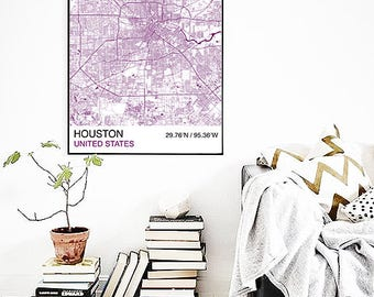 Houston City Map Poster, Street Map, Custom Map Print, Map, Large Poster, Wedding, Graduation, Houston Map, Wall Art