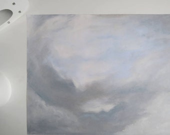 Grey sky. original pastel drawing
