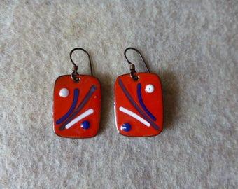 Mod squad enamel dangle earrings, red white and blue drop earrings
