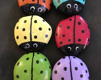 Set: 6 Colorful Ladybug Garden Stones--Painted Rocks-- ONLY 2.50 Each!