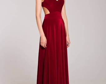 Burgundy Dress Maxi with Open Back, Special occasion sexy Dress, Formal Dress, Evening gowns, Evening dress, Sleeveless dress, Party dress
