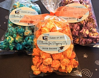 18 Choose Your Color of Popcorn Personalized Graduation Party Favors- Thanks For Popping By- Handmade Gourmet Popcorn- Graduation Open House