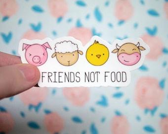 Friends Not Food Vegan Sticker - Vegetarian - Animal Rights PETA - Cruelty - Notebook Stickers - Laptop Stickers - Pig Cow Decals  - S98