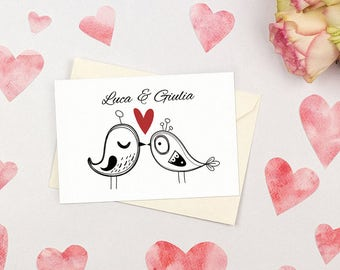 Cute and romantic wedding invitation with birds. Simple and witty. Custom wedding invitations.