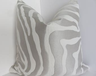 Luxurious Zenc  Pillow Covers- Zinc Cream Pillow Cover- Decorative Throw Pillows- Zebra Pillow -Chenille Animal Pillow- Zebra stripe Pillows