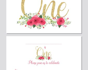 First Birthday Party Invitations - White, floral with faux glitter text - 24 x A6 cards (With Envelopes)
