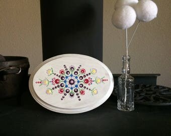 Handpainted, Folk Art, Dot Mandala on 5X7 oval, wood plaque