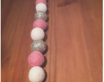 Pink, Ivory & Nickel Glitter Felt Ball Garland