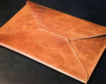 Leather Envelope Case - Laptop Sleeve - Laptop Case - MacBook Sleeve - Leather Portfolio - Envelope Clutch - Laptop Bag