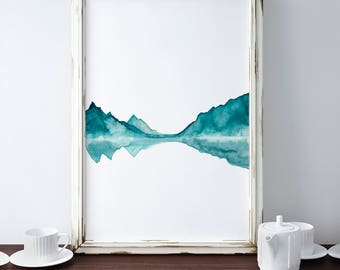 Mountains Lake Print, Teal Painting, Abstract Print, Landscape Art, Poster Large Size Contemporary Artwork, Lake Reflection Art Framed Print