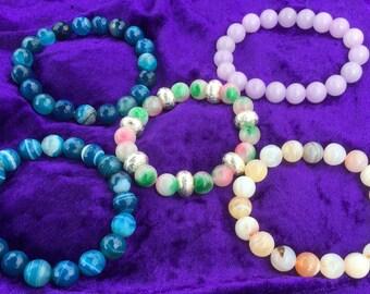 Stretchy bracelets / genuine gemstones  / Agates / Jade/ Blue /lilac /multi coloured & silver