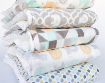 Flannel Cloth Diaper Burp Cloth - Set of 2, 3, 4 or 5 - Gender Neutral