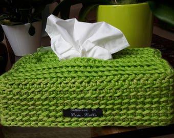 Handmade Apple green cool crochet sleeve cover for tissuesbox