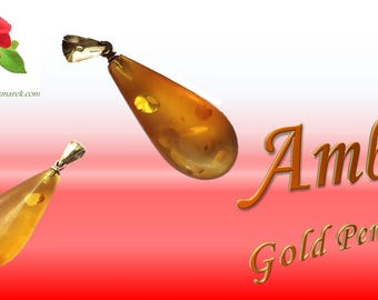 Amber Gold Crystal Teardrop Pendant
