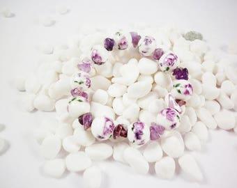 Natural Purple Amethyst Bead Bracelet, Amethyst chip stone bracelet, beads Gemstone bracelet, women bracelet