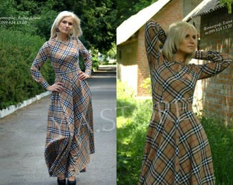 Plaid Maxi Dress Beige Tartan Long Dress Woman Maxi Dress with Sleeves