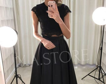 Set Skirt and Lace Top Black Skirt with Black Lace Blouse