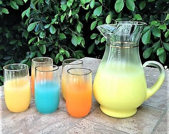 Blendo frosted glass pitcher and glasses