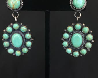 Native American Navajo Anthony Skeets Turquoise Sterling Cluster Earrings
