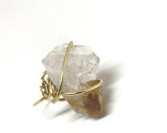 Citrine Crystal Gold Wire Wrapped Womens Statement Ring