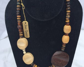 Wood and Tiger Eye Necklace with hook and loop closure