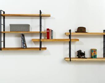 Regardless of hanger wall shelf, raw steel and solid oak ladder shelf