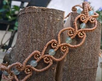 macrame bracelet with aventurine beads in light brown,