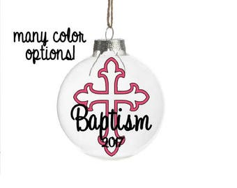 Personalized Baptism Gift For Godaughter, Baptism Ornament, Gift From Godparent, Gift for Girl, Personalized Christening Gift, Cross