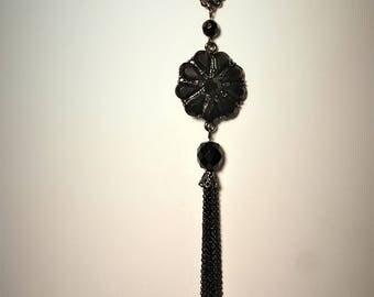Dramatic Black Art Deco Tassel Necklace