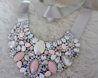 FREE SHIPPING, Pink Rhinestone Statement Necklace, Pink Bib Necklace. Bright Pink Rhinestone Necklace, Pink and Crystal Bib Necklace