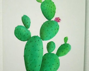 Original cactus oil painting, hand painted