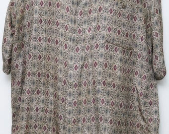 """Rare 90's Vintage """"CAMBIO ITALIA"""" 100% Silk Short-Sleeve Abstract Patterned Shirt Sz: X-LARGE (Men's Exclusive)"""