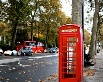 Red Telephone Booth Photo, London, England, Streets, British, Photograph, Wall Art