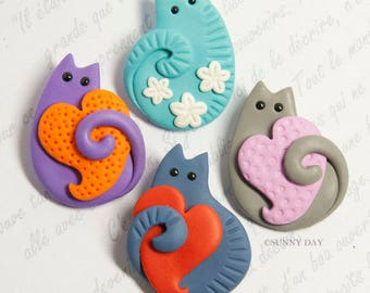 Funny Cat Brooch handmade polymer clay jewelry Pin cute cat kitty heart flowers spring cats