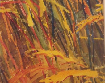Painting Wheat Field Original Abstract Watercolour Diptych