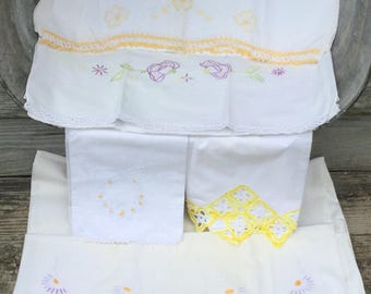 5 Embroidered Pillowcases Vintage Cotton Embroidery Standard Mixed Crochet Lace Edge Single Pillowcases
