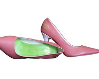 Ethel Pink & Green - AKA Heel - Alpha Kappa Alpha Heel
